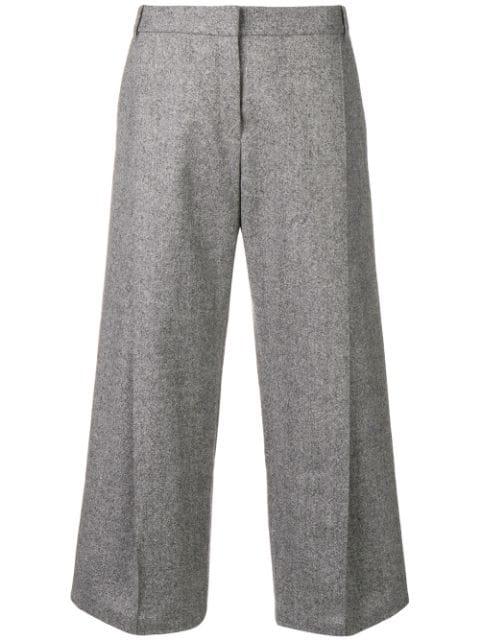 Barbara Bui Wide Leg Cropped Trousers In Grey