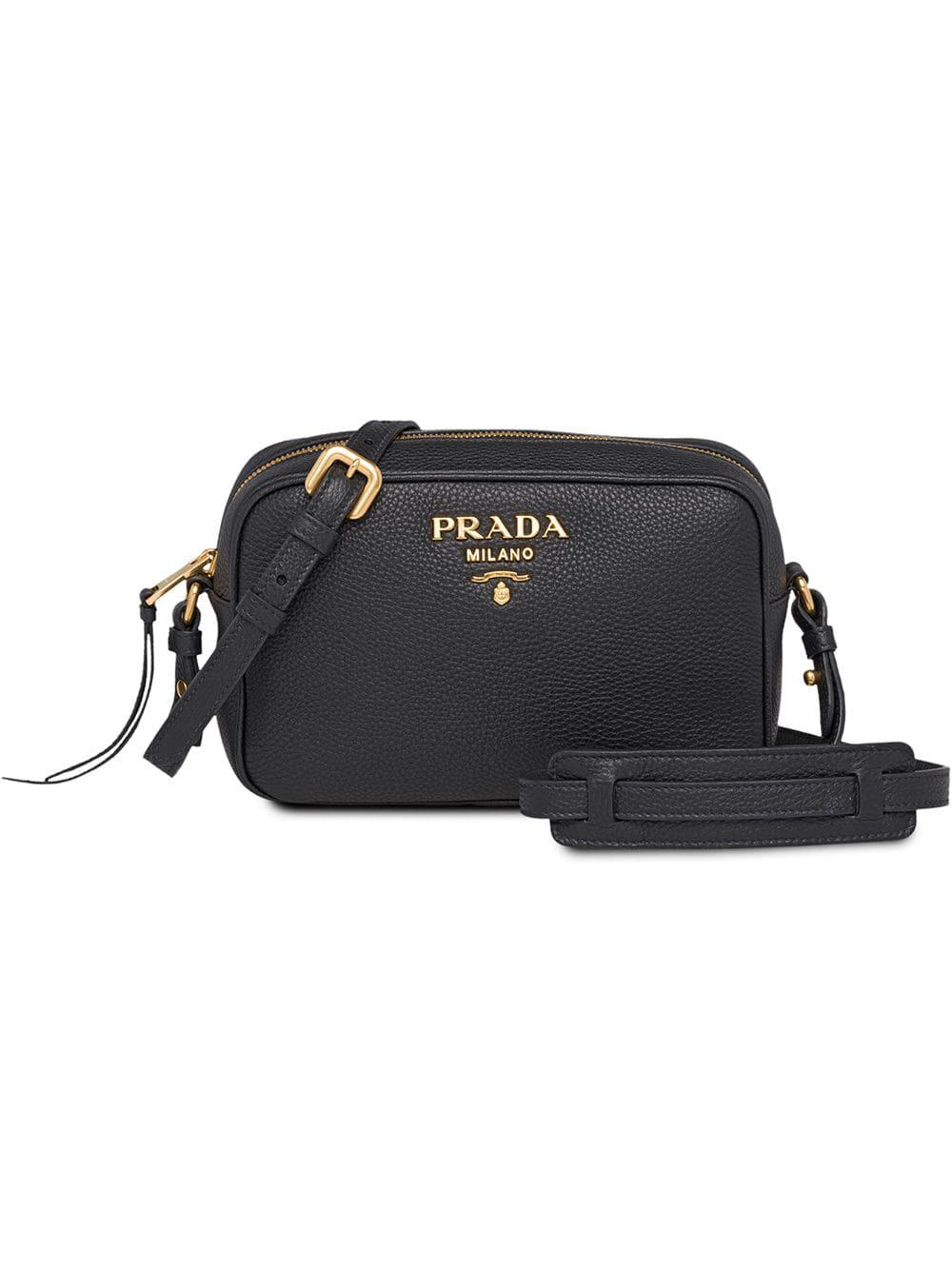 74be7ff0614f Prada Pebbled Shoulder Bag - Black