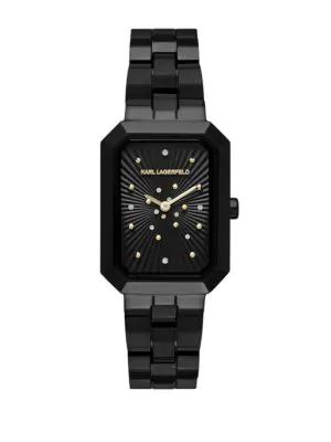 Karl Lagerfeld Klassic Linda Stainless Steel 3-link Bracelet Watch In Black