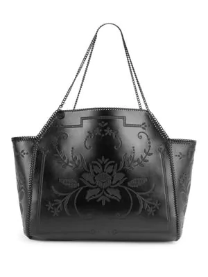 Stella Mccartney Embroidered Reversible Medium Dual Tote Bag In Black