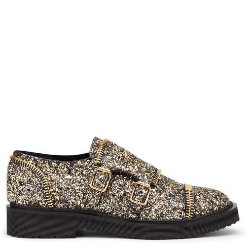 Giuseppe Zanotti - Leather Monk-Strap Shoe With Golden Glitter Johnny In Black