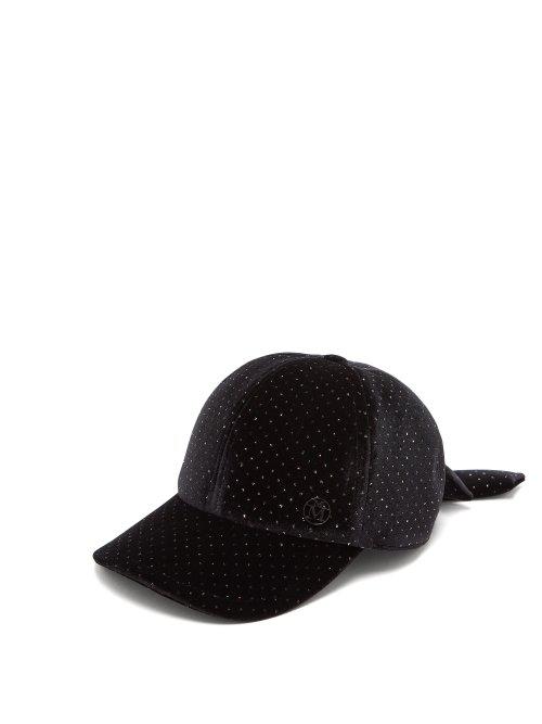 e8e7d4ae3 Maison Michel - Sequin Embellished Velvet Baseball Cap - Womens - Black