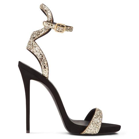 Giuseppe Zanotti - Black Suede Sandal Wigh Gold Glitter Gwyneth