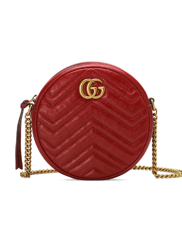 03141bd2ce6f8c Gucci Mini Marmont 2.0 Leather Canteen Shoulder Bag - Red   ModeSens