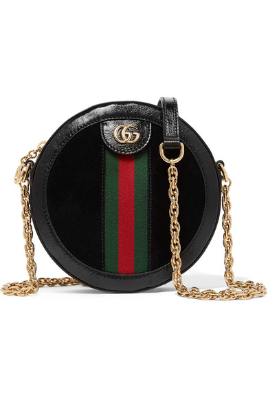 Gucci Ophidia Mini Patent Leather-Trimmed Suede Shoulder Bag In Black Suede