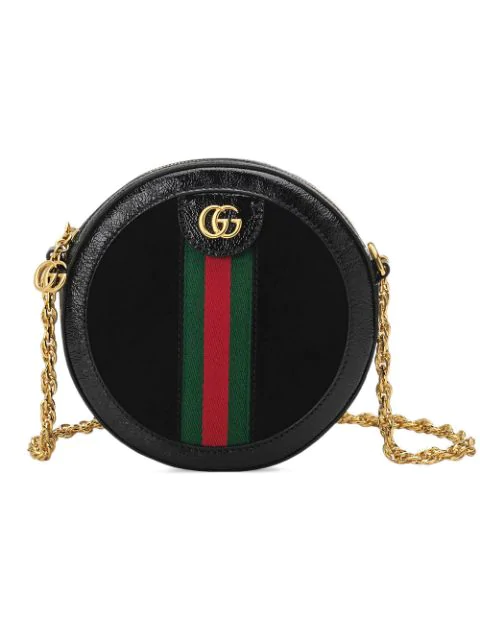 Gucci Ophidia Mini Patent Leather-trimmed Suede Shoulder Bag In Black
