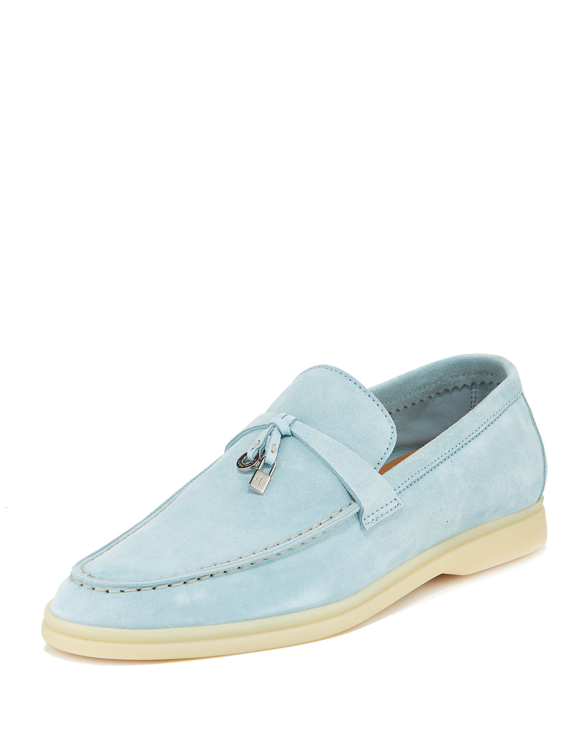 4d1db73a196 Loro Piana Summer Charms Walk Suede Loafers In Cerulean