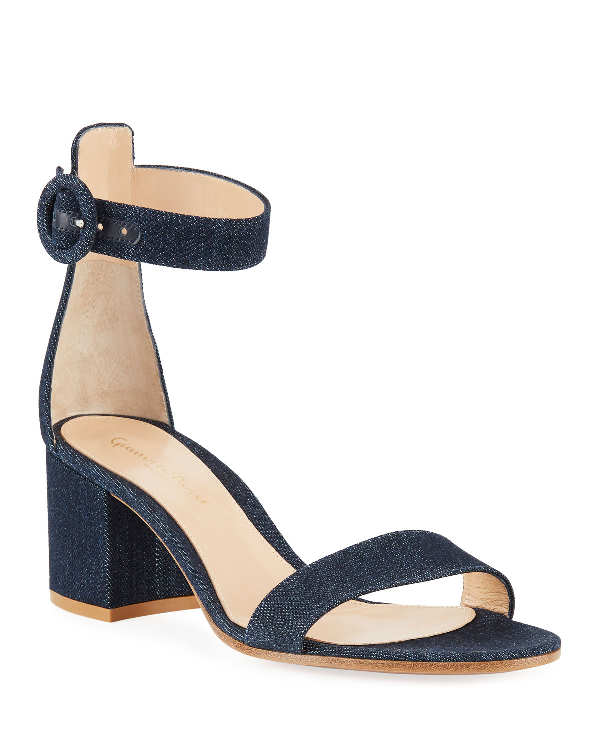 Gianvito Rossi Denim Block-Heel Ankle-Strap Sandals In Blue