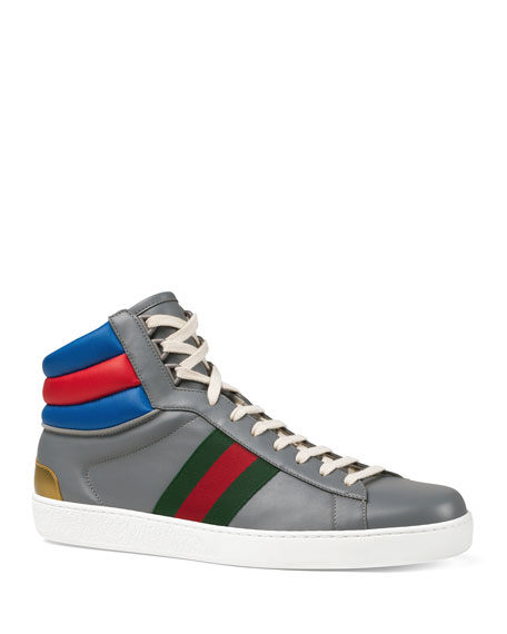 Gucci Men's Ace Colorblock Leather High-Top Sneakers In Gray