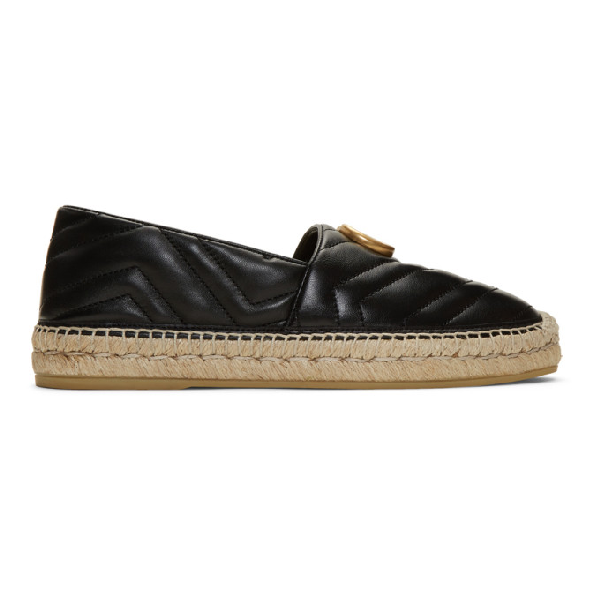 Gucci Men's Quilted Leather Espadrilles With Double G In 1000 Black