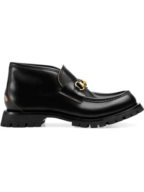 Gucci Men's Leather Ankle Boots With Rosebuds-Print Sole In Black