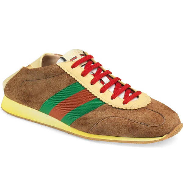 Gucci Men's Suede Fold-Down Sneakers With Web In Khaki Brown