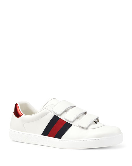 Gucci Men's Leather Grip-Strap Sneakers With Web In White