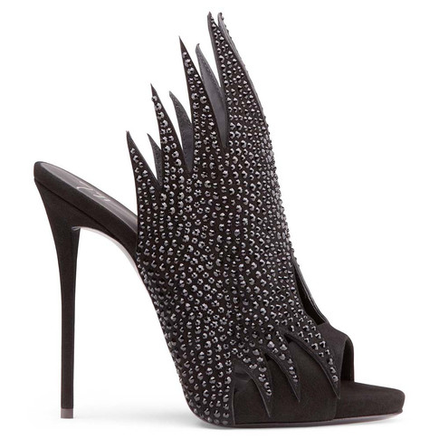 Giuseppe Zanotti - Black Suede Mule With Crystals Witch