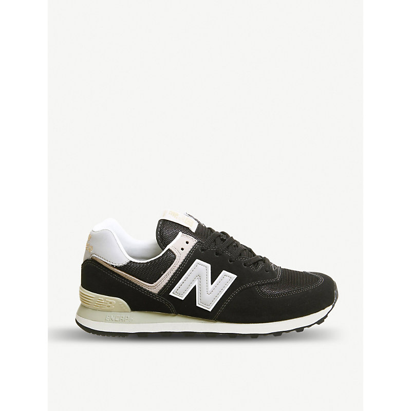 free shipping 49974 be82c New Balance 574 Suede And Mesh Trainers In Black Grey White