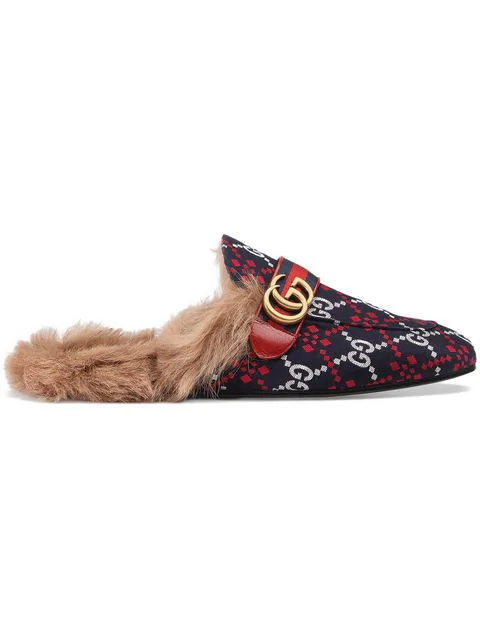 Gucci Men's Princetown Diamond Jacquard Slippers With Double G In Blue