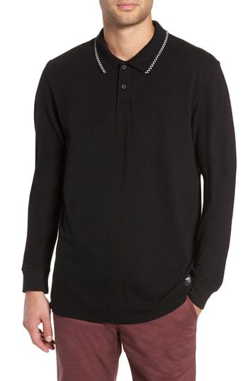 6b861da52 Vans Check Tip Long Sleeve Pique Polo In Black | ModeSens