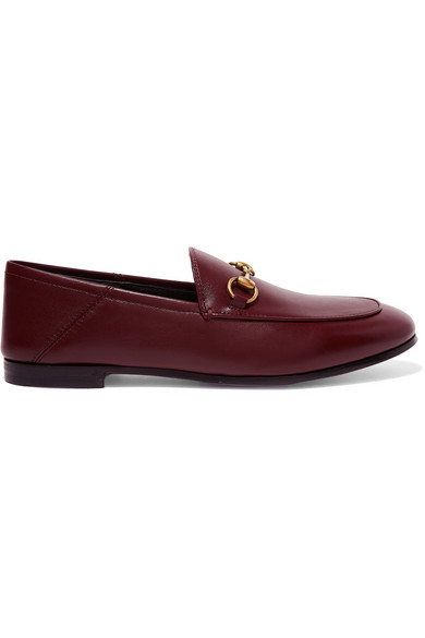 Gucci Brixton Horsebit-Detailed Leather Collapsible-Heel Loafers In 6629 Burgun