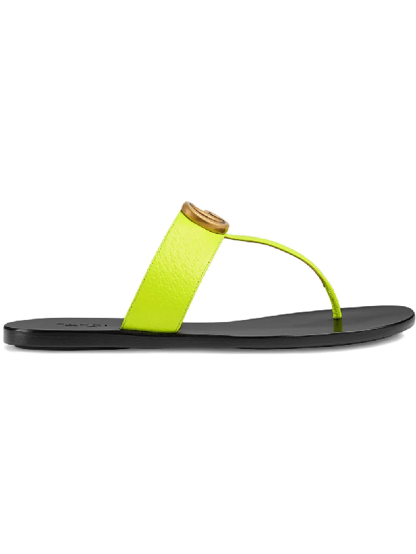 3dab23105 Gucci Leather Thong Sandal With Double G In Yellow