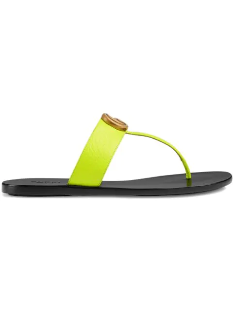 Gucci Leather Thong Sandal With Double G In Yellow