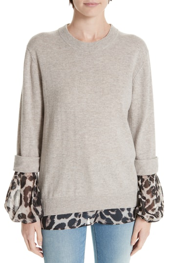4af805262af Brochu Walker Layered Animal Print Wool   Cashmere Sweater In Light Chia  Printed
