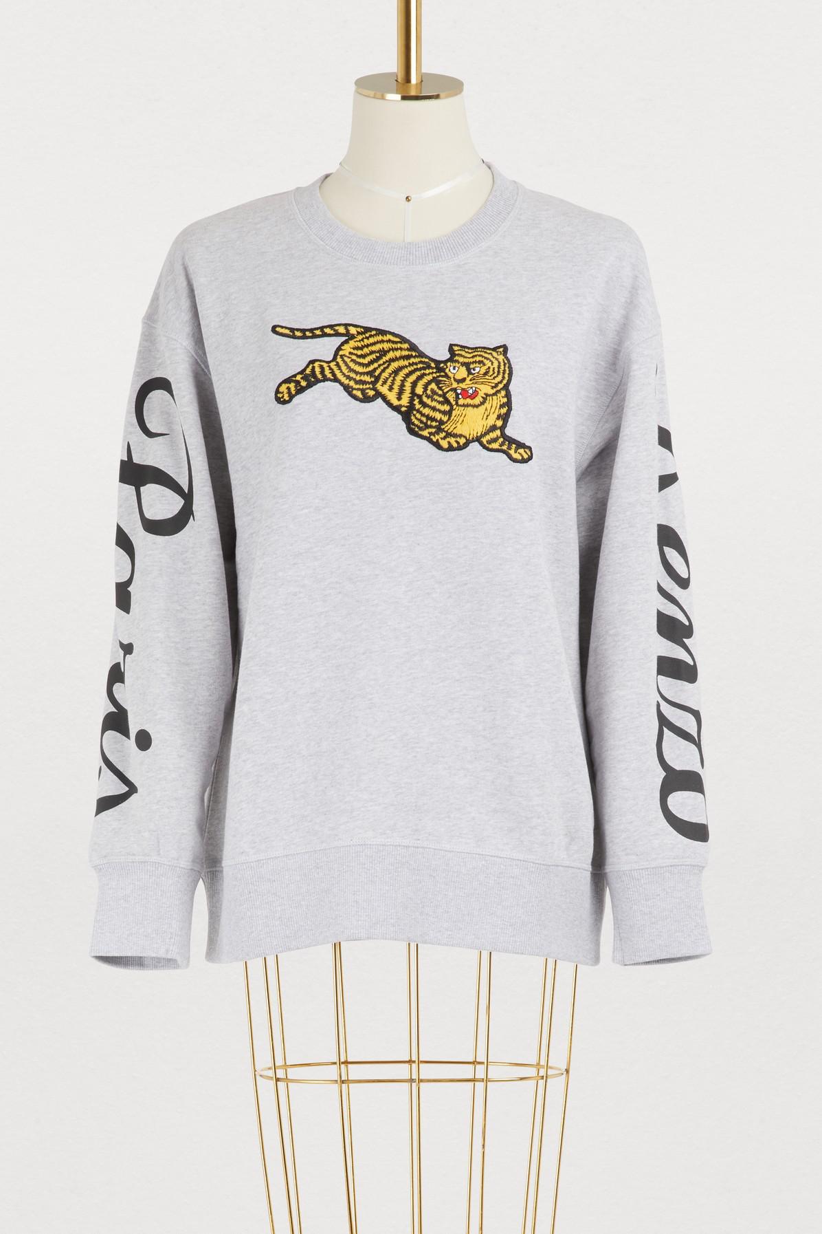 020c3896 Kenzo Cotton Jumping Tiger Sweatshirt In Pearl Grey   ModeSens