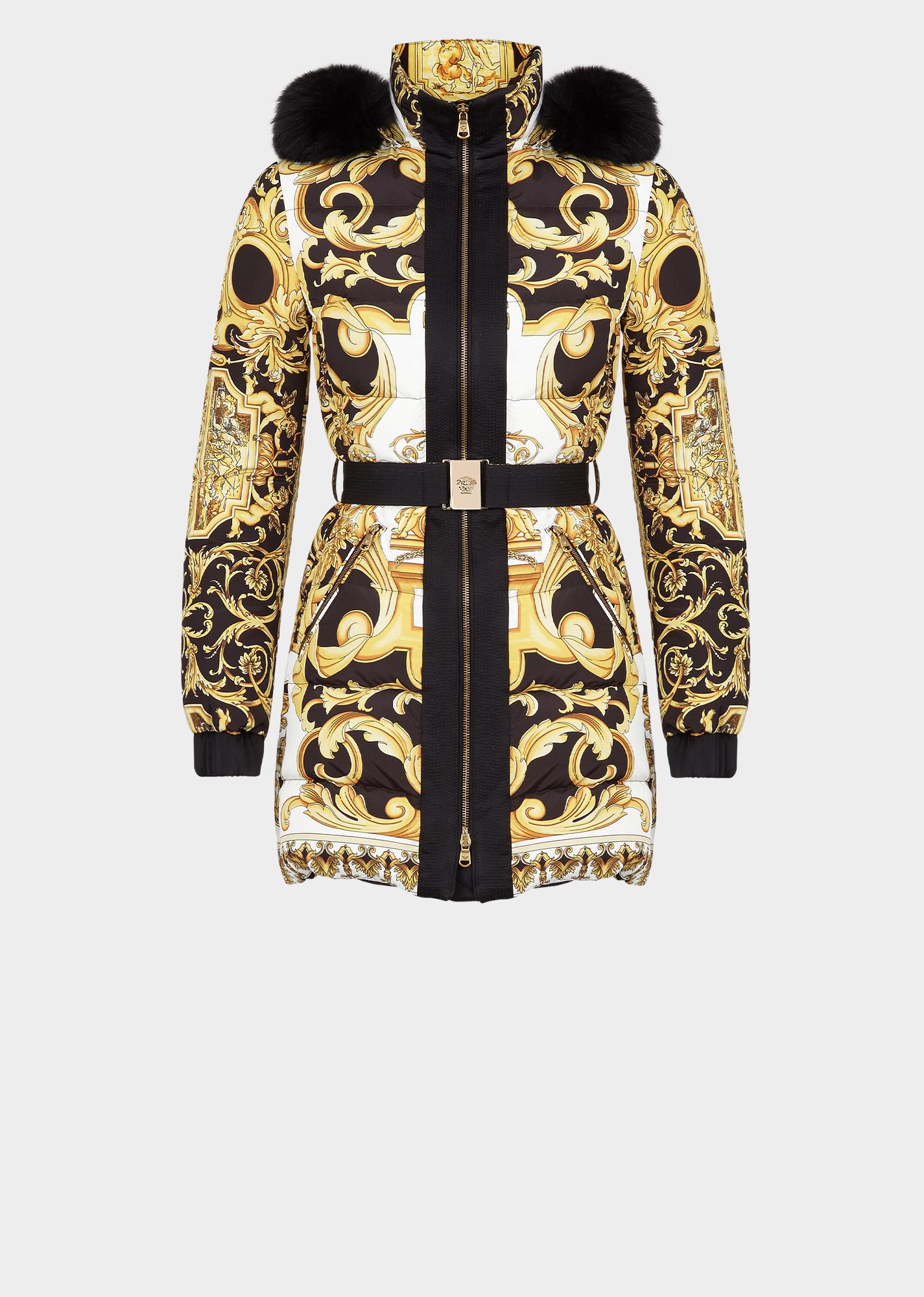 82eb6e3b590 Versace Barocco Hooded Puffer Coat In Print   ModeSens