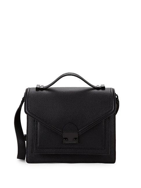 Loeffler Randall Medium Boxed Pebbled Leather Shoulder Bag In Black