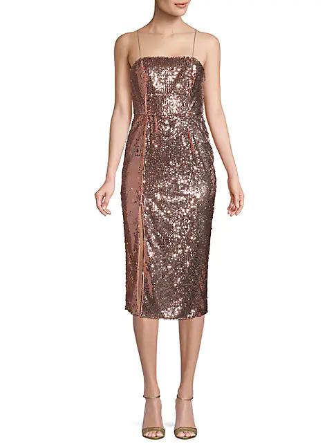 Jay Godfrey Sequin Sheath Dress In Rose Gold