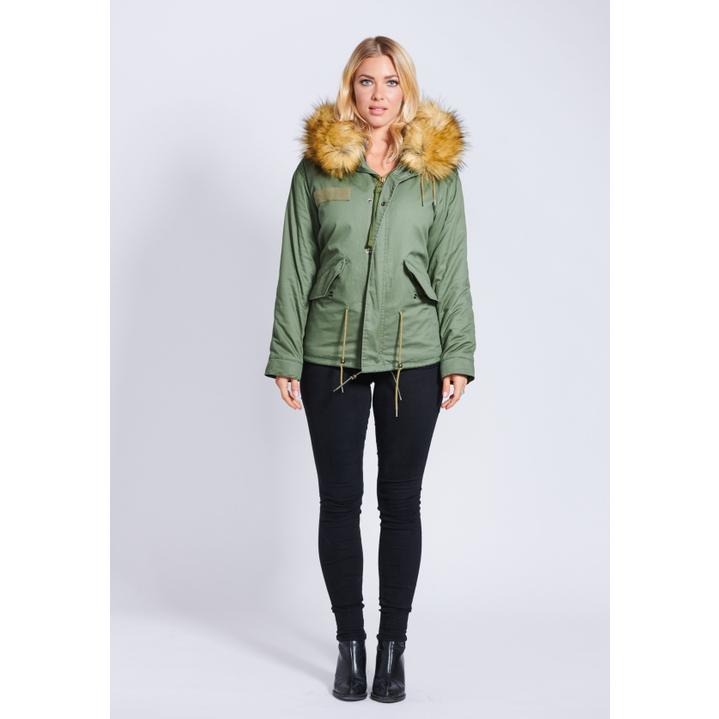 e484d7b997ba Popski London Fabulous Faux Parka Jacket With Faux Fur Collar Natural