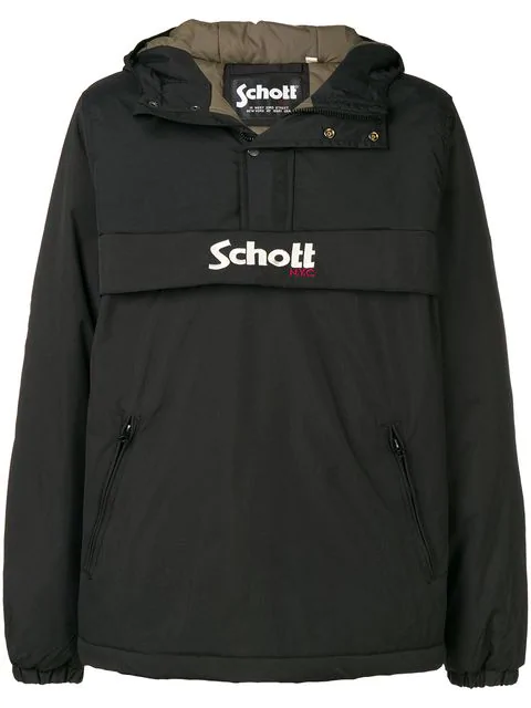 Schott Logo-embroidered Shell Hooded Jacket In Black