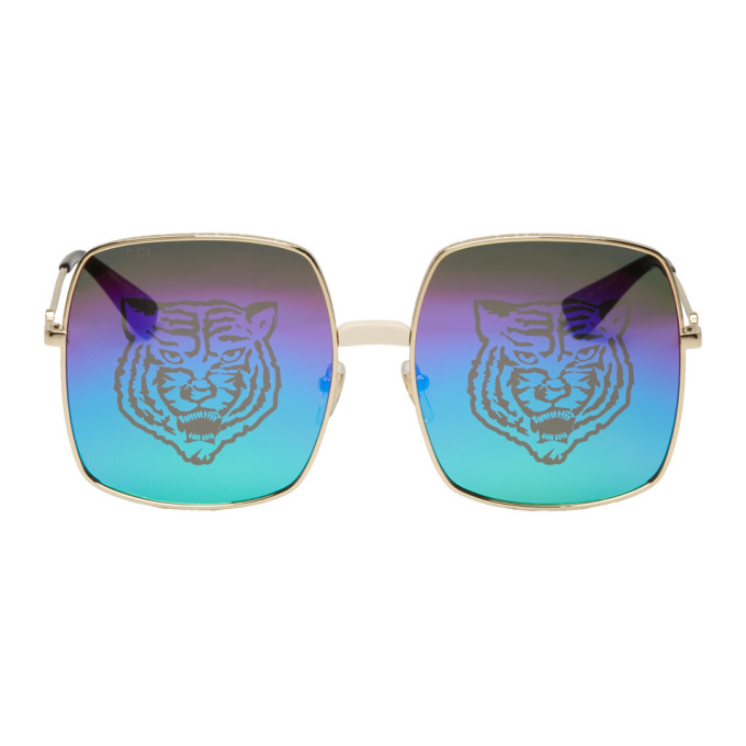 a4a6d91bb7 Gucci Gold Oversized Rectangular Sunglasses In 004 Endgld