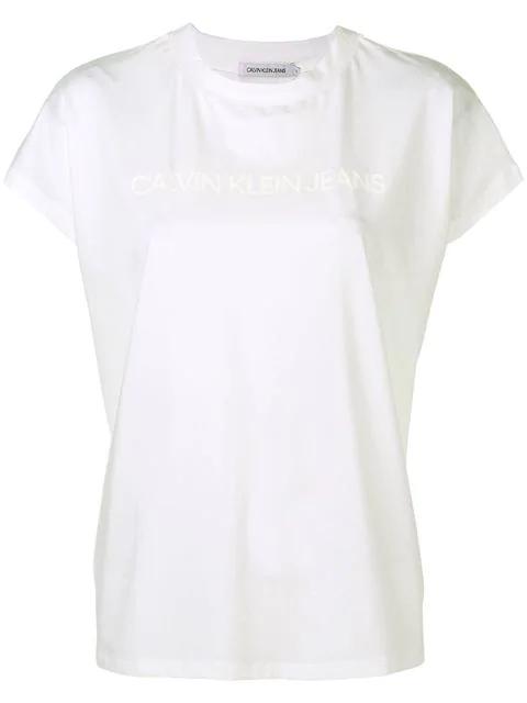 Calvin Klein Jeans Logo Printed T-Shirt - White