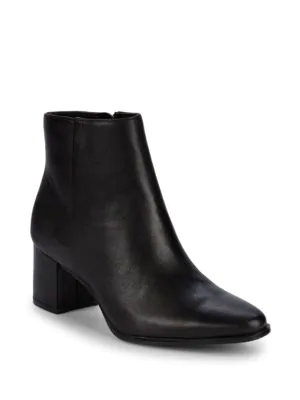 Calvin Klein Fimora Leather Ankle Boots In Black
