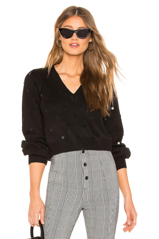Majorelle Sequin Sweater In Black.
