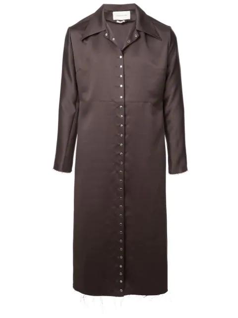 Ludovic De Saint Sernin Snap Button Trench Coat In Grey