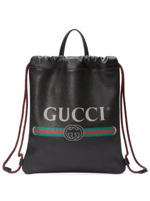e757e6d2b0c Gucci Print Small Drawstring Backpack In Black