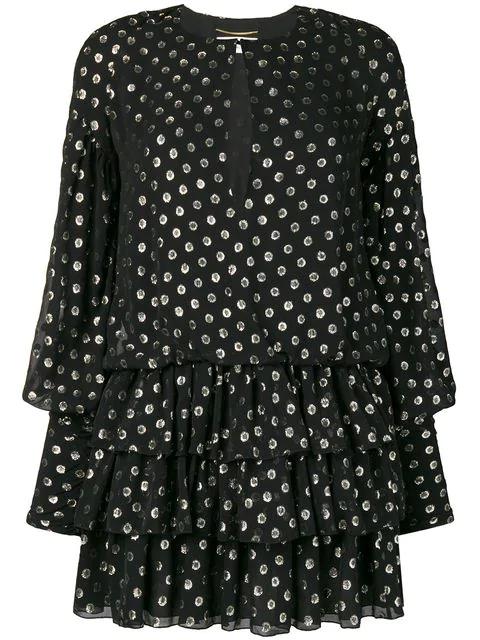 Saint Laurent Fil-CoupÉ Silk-Blend Georgette Dress In Black