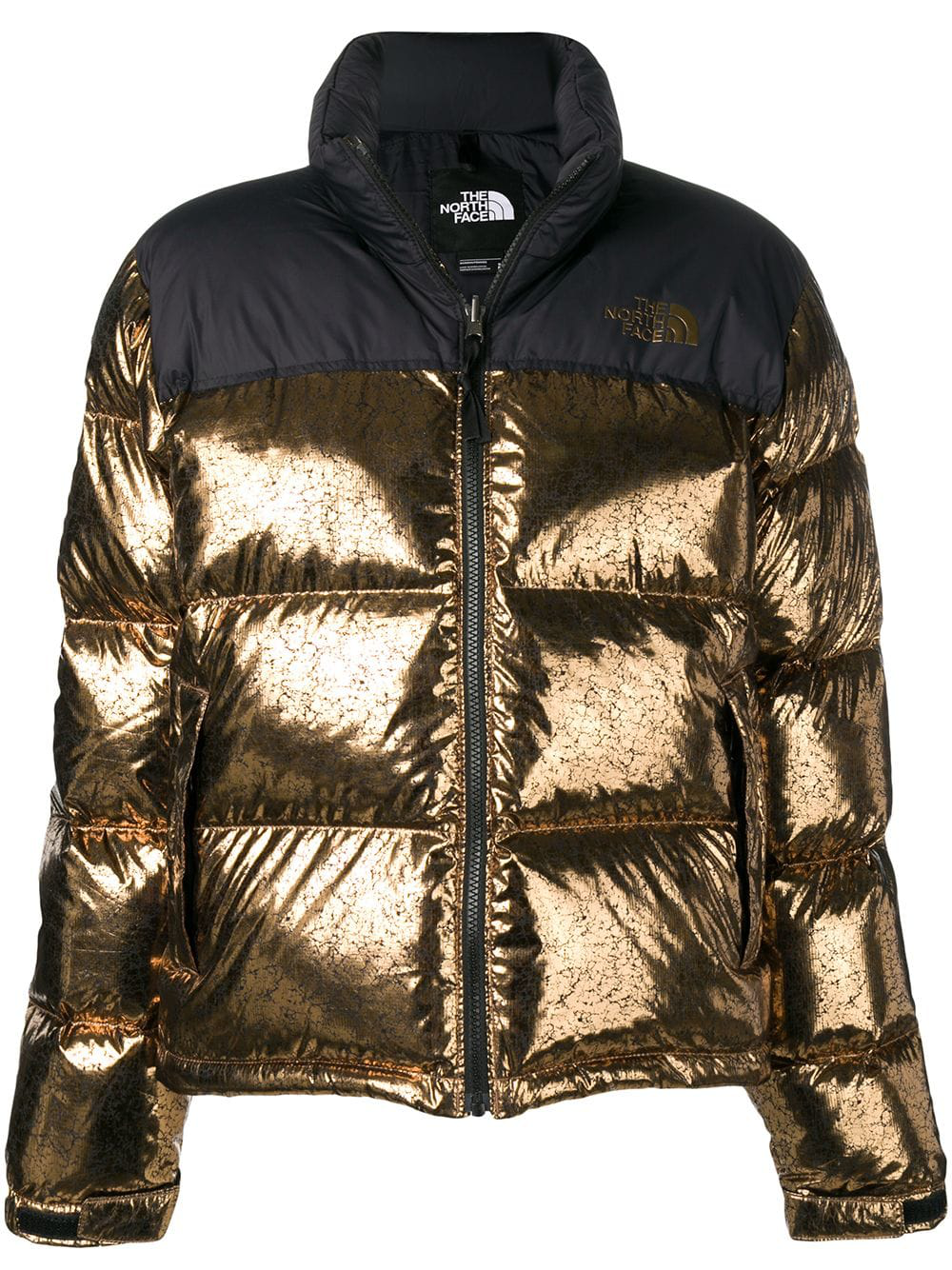 The North Face Metallic Puffer Jacket In Gold | ModeSens