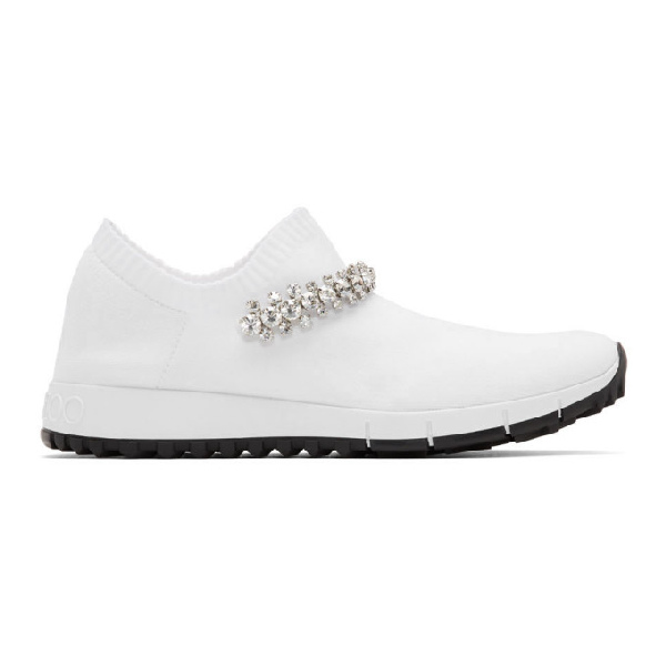 Jimmy Choo Verona White Knit Trainers With Crystal Detailing