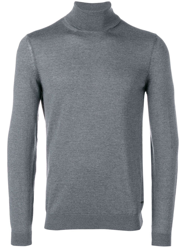 Hugo Boss Turtleneck Knit Sweater In Grey
