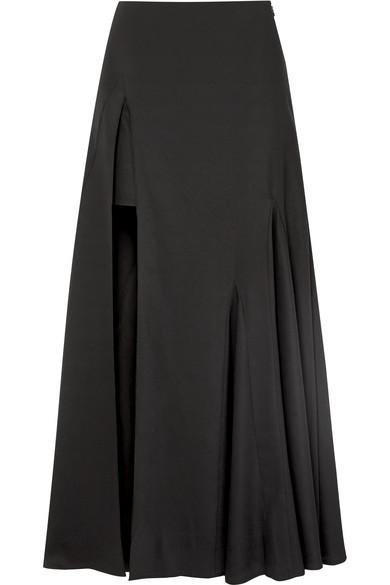 Jacquemus Faya Asymmetric Crepe Maxi Skirt In Black