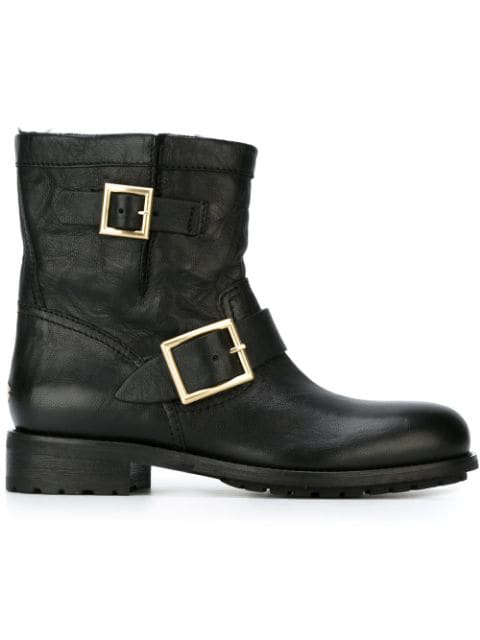 Jimmy Choo Youth Biker Style Ankle Boots In Satined Leather With Maxi Metallic Buckles In Black