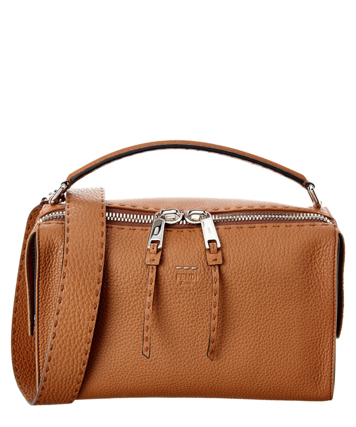 f293ab0e85 Fendi Lei Selleria Leather Boston Bag  In Brown