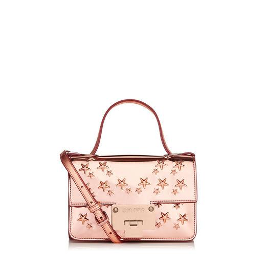 ca0162e8d2 Jimmy Choo Rebel Soft Mini Dahlia Mirror Coated Fabric With Stars Mini  Cross Body Bag In