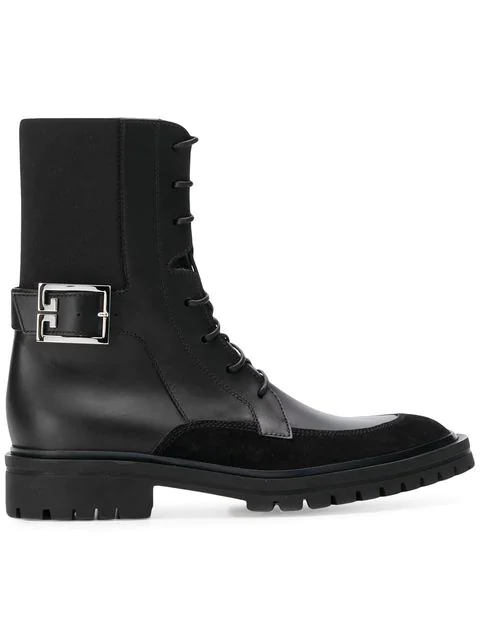Givenchy Aviator Suede-Trimmed Leather Ankle Boots In Black