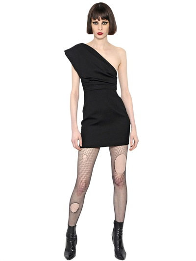 Saint Laurent Draped One Shoulder Wool Crepe Dress In Black