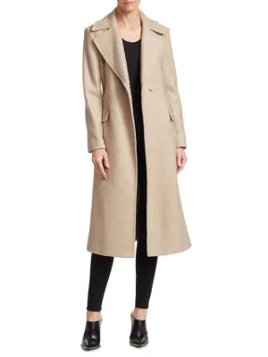 Theory Perfect Belted Wool-Blend Trench Coat In Camel Multi