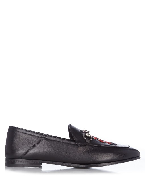 ec42b0c4835 Gucci Brixton Snake-AppliquÉ Leather Loafers In Black