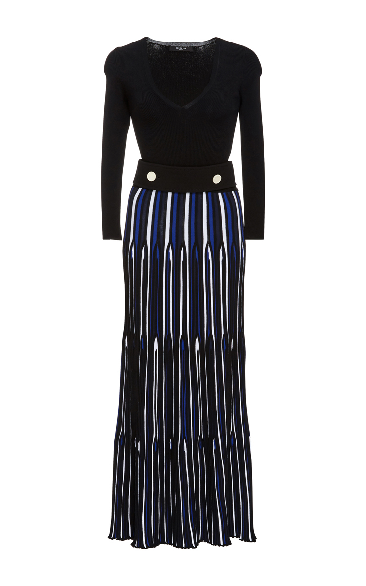 Derek Lam Long-Sleeve V-Neck Pleated Dress, Blue Multi